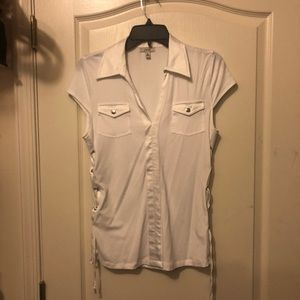 Cache white side tie top